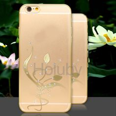 Diamond Studded Soft TPU Back Case for iPhone 6 / 6S - Elegant Flowers