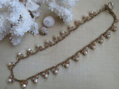 Cream Pearl Crochet Necklace, Cream & Champagne Czech Glass Bead, Delicate 17 Long Bohemian Style Crochet Necklace