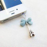 I Love Paris - Blue Ribbon Mini Eiffel Tower Iphone Headphone Plug/Dust Plug - Ready to Ship Iphone Accessories