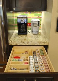 Keurig Coffee Station with K-Cup Drawer Storage, Tea Storage, creamer storage and other misc. coffee supplies.