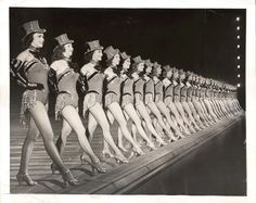 Rockette girls get ready to kick up their famous heels, 1953 Tumblr