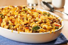 This casserole's like having a cheeseburger, mac & cheese, and a big helping of vegetables—all in one tasty dish!
