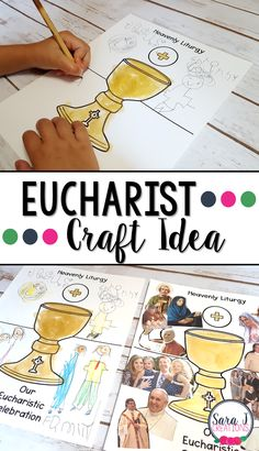 Eucharist craft idea that is perfect for teaching about Holy Communion or the Seven Sacraments. This craft connects our liturgy on earth to the heavenly liturgy. Catholic Schools Week, Catholic Religious Education, Catholic Religion, Catholic Kids, Catholic Homeschooling, Seven Sacraments, Catholic Sacraments, Children's Church Crafts, Catholic Crafts