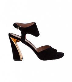 Marni Flared Heel Sandals in Black
