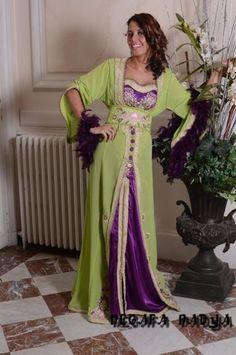 green and purple caftan
