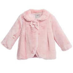 Baby Girls Pink Synthetic Fur Coat, Mayoral, Girl