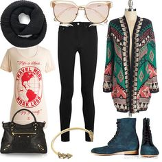 Tribal cardigan + black jeans + graphic t-shirt + blue lace boots + chunky black scarf  | Women's Outfit