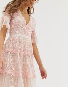 Order Needle & Thread embroidered maxi dress with flutter sleeve in rose online today at ASOS for fast delivery, multiple payment options and hassle-free returns (Ts&Cs apply). Get the latest trends with ASOS. Pink Dress Casual, Casual Dresses, Formal Dresses, Boho Dress, Dress Up, Dress Shoes, Shoes Heels, Needle And Thread Dresses, Blush Dresses