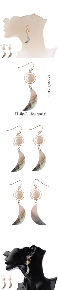 2017 New Fashion Accessories Gold Elegant Shiny Moon Shape Colorful Shell Earrings For Women Fashion Jewelry HQE474