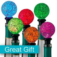 Lighted Mosaic Wine Toppers (great hostess gift for the Holidays. You get 2 for 25.95)