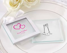 Personalized Glass Coaster (Set of 12) (Wedding)  An event to remember! Do so beautifully with Kate Aspen's personalized glass coasters--proudly display your new monogram or choose from dozens of personalized options!   http://favorcouture.theaspenshops.com/images/Product/27075NA_Prs-Glass-Coaster_v3_M.jpg