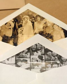 Lined envelopes, could run copies off copy machine of a collage of your guys pics to line envelope or box lids