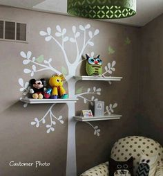 You guy should totally try this Tree shelf in a nursery room. You could put the baby monitor on a shelf.