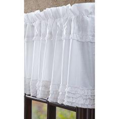 Porch Curtains, Ruffle Curtains, Valance Curtains, Cottage Front Porches, Rustic Decor, Farmhouse Decor, Farmhouse Style, Country Kitchen Curtains, Sheer Valances