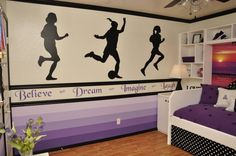 teen girl room sports room ombre wall- lime green on top, white molding, blue ombre stripes with dark blue runner, bball player, softball player