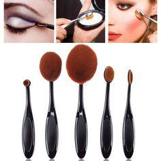 5pcs Black Toothbrush Shaped Foundation Power Makeup Oval Cream Puff Brushes Set -- BuyinCoins.com