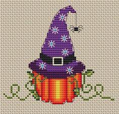 Free Cross Stitch Pattern - Pumpkin Witch