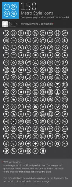 150 Metro Style Icons | #design #mobile #ux #ui #iconss #design