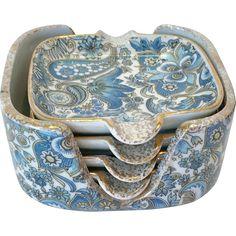 Vintage Arnart Royal Paisley Blue Chintz Ashtray Set with Holder