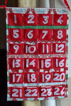 Home-made fabric & felt sewn pocket advent calendar, from a touch of domesticity
