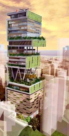 The World's most expensive houses include a high-rise residence that takes up an entire skyscraper, to a tree houses larger than your residence. Green Architecture, Landscape Architecture, Architecture Design, Famous Architecture, Green Tower, Eco Buildings, Vertical Farming, Vertical Gardens, Expensive Houses
