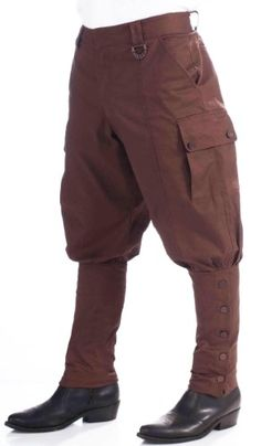 Victorian Brown Steampunk Adult Male Costume Pants One Size, White