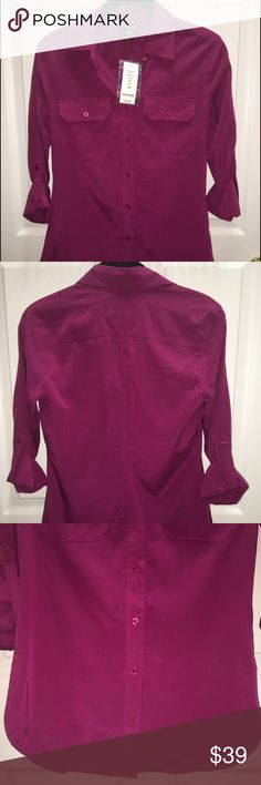 BEBE Solid Slim Boyfriend Shirt, size XS BEBE Solid Slim Boyfriend Shirt, size XS  Color: Fuschia  Style: Button down Fit: Slim Material: 96% Silk, 4% Spandex  Retail price: $69.00  BRAND NEW. NEVER WORN.   Stored in a pet free and smoke free environment.   I have described this item to the best of my ability. Please contact me with any questions prior to purchase. bebe Tops Button Down Shirts