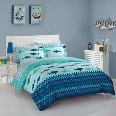 Giraffe Shark, Queen - 3 Pieces Cozy Line Home Fashions Microfiber Reversible Kids//Boys Blue Navy Coverlet Bedspread Quilt Set with Shams