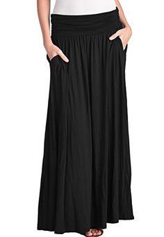 51a49750 TRENDY UNITED Women's High Waist Fold Over Shirring Maxi ... https://