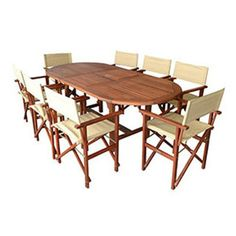 FIVEMORE | 8-Seater Extendable Oval Table and Directors Chairs Set - Furniture - 5rooms.com