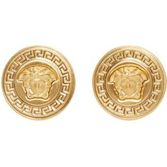 Versace Gold Medusa Medallion Earrings (€255) ❤ liked on Polyvore featuring jewelry, earrings, medallion jewelry, versace, versace jewellery, gold tone jewelry et versace jewelry