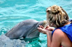 Britt and I swam with the dolphins in the Bahamas.