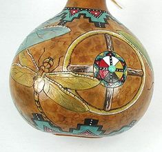 Cynthia Whitehawk Hand-painted Ceremonial Dragonfly Four Directions Morning Star Medicine rattle