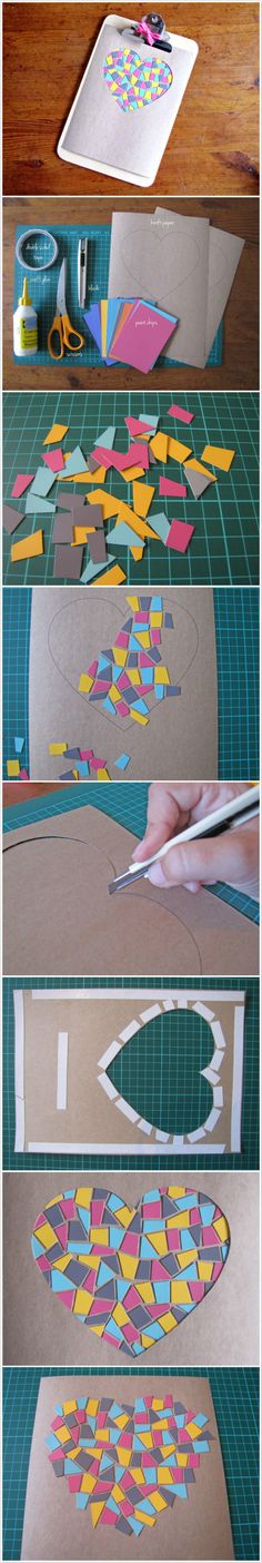 DIY: Paint Chip Mosaic Artwork Use torn construction paper for valentines cards!