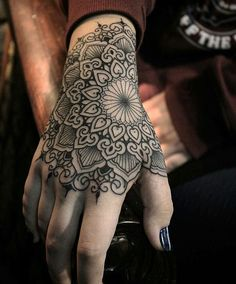 How much does a hand tattoo hurt? We have hand tattoo ideas, designs, pain placement, and we have costs and prices of the tattoo. Mandala Tattoo Design, Mandala Hand Tattoos, Tattoo Henna, Get A Tattoo, Tattoo Designs, Tattoo Ideas, Mandala Art, Geometric Mandala Tattoo, Wrist Tattoo