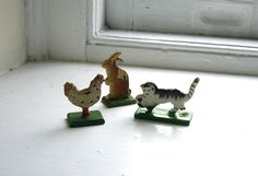 Antique Vintage Erzgebirge Wooden Animals Hand Painted German Wood Toys Christmas Putz Bunny, Chicken, Playing Cat. 15.00, via Etsy.