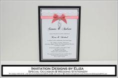 Invitation Design {Wedding} Coral, Black & White Theme www.facebook.com/InvitationDesignsByEliza