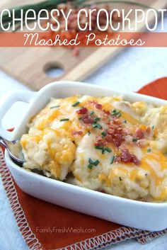 The best potatoes EVER!- Easy Cheesy Crockpot Mashed Potatoes - Family Fresh Meals