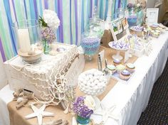 How to Throw A Beach Themed Wedding Shower Details on DIY decor
