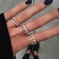 14kt gold and diamond kite stack ring – Luna Skye