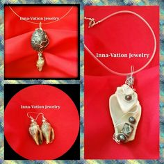 #Wire #wrapped #shell #sliders /#pendants and #earrings. Silver-plated copper untarnished wire, pearls.