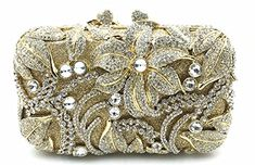 Fashion Women Gold Plating Rose Flower Hollow Out Crystal Evening Metal Clutches Small Minaudiere Handbag Wedding Clutch Gold Clutch, Clutch Purse, Wedding Clutch, Wholesale Bags, Quality Diamonds, Cheap Bags, Bag Sale, Evening Bags