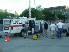 On June 13th, our building lost all power as we switched from one generator to another. We were without power for an hour, in the middle of live coverage. So we moved to the street! Bruce and Beth and the whole team went outside to the water's edge and continued live coverage. This is one of the few sections of our flood coverage that we have no record of because all of the machines that we use to record coverage went dead.