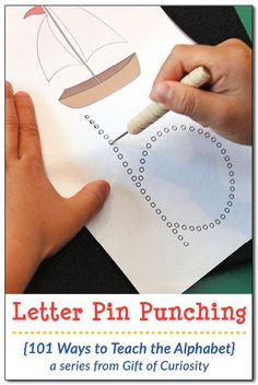 letter pin punching pages Ways to Teach the Alphabet} Free Montessori-inspired Letter Pin Punching Pages to help kids learn their letters while developing the fine motor control needed for writing. Letter pin punching is a great way to teach the alphabet! Montessori Elementary School, Montessori Preschool, Montessori Education, Preschool Letters, Montessori Materials, Preschool Learning, Preschool Activities, Teaching The Alphabet, Learning Letters
