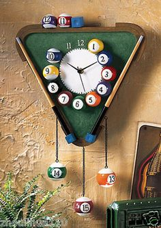 I THINK I COULD MAKE THIS! Pool Balls Triangle Billiard Table Wall Clock Room Decor Quartz Clock