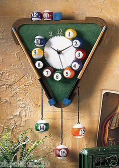 Billiards Wall Clock Hanging Clock Snooker Home Bar Billiard Room Decoration NEW Billard Snooker, Cool Diy, Wall Clock Hanging, Wall Clocks, Pool Table Room, Pool Tables, Billiards Pool, Game Room Design, Room Decor