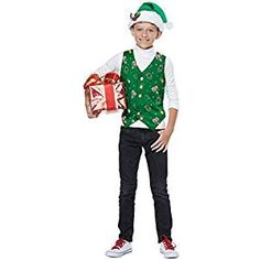 christmas costumes summer christmas costumes for kids Green Christmas Holiday Vest Kids Costume