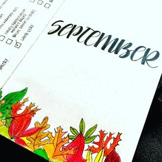 """September intro page. Colorful themed """"header"""" as a footer. #bujo #bulletjournal"""