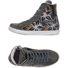 Cafènoir High-tops & Trainers ($53) ❤ liked on Polyvore featuring shoes, sneakers, lead, high top zipper sneakers, floral print sneakers, leather high tops, leather shoes and floral sneakers