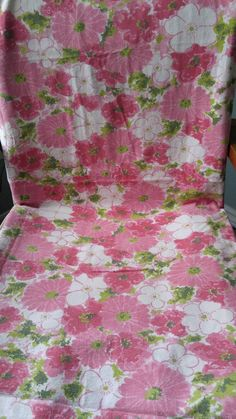 Vintage Sears Brand Bed Sheet In A Pretty Floral Design And Desirable Pink  Colors! 100